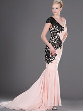 Curvy Mermaid Chiffon Formal Prom Evening Desses Lace Applique w/ Train All Size