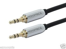Iphone 5 Auxillary Cable 3.5mm Stereo Male to Male Gold Plated - Black