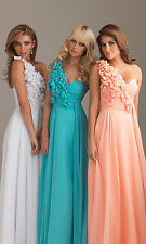One Shoulder Flowers Prom Party Evening Elegant Wedding Dress Bridesmaid Dress