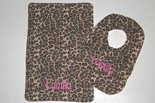 New Hand Made Personalized Baby Bib Burp Cloth Set girls Boys Black Tan Leopard