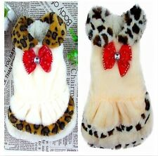 Warm Small Dog Pet Clothes Leopard princess dress Apparel 2 Styles Free Shipping