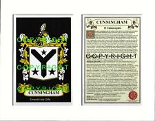 CUNNINGHAM Family Coat of Arms Crest + History - Available Mounted or Framed