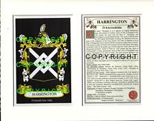 HARRINGTON Family Coat of Arms Crest + History - Available Mounted or Framed