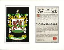 MCNULTY Family Coat of Arms Crest + History - Available Mounted or Framed