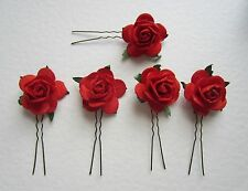 5 Large 2.5cm Rose Wedding Hair Slides / Pins, ANY COLOURS Party Prom Clips