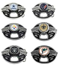 Official Licensed NFL Team Logo  Pewter Tailgater Bottle Opener Belt Buckles