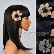New Pearl Satin Bridal Hair Flower Wedding Party Hairpin Fascinator Accessory
