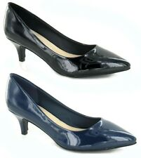 WOMENS LEATHER LINED COURT WORK LOW HEEL SHOES BLACK NAVY PATENT SIZE UK 3-8 NEW