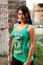 SEXY GREEN FITTED CASINO LOVE DICE MUSCLE TANK TOP NEW ROCKABILLY RETRO LUCKY