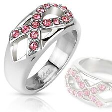 Pink Crystal Ribbon Cancer Awareness Ring Stainless Steel