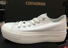 NEW CONVERSE CHUCK TAYLOR ALL STAR PLATFORM LAYER BOTTOM ALL WHITE LOW SHOES