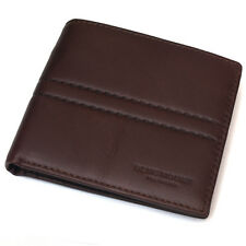 New Mens Brown Leather Wallet Bifold 6 Card Slot Zippered Pocket Purse mj2492