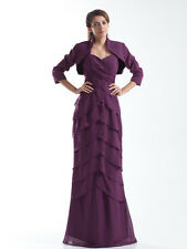 Long Ruched Chiffon Wedding Mother of the Bride Dress + Free Bolero Custom Gown