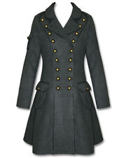 Hell Bunny Imma Grey Copper Steampunk Military Army Victorian Goth Jacket Coat