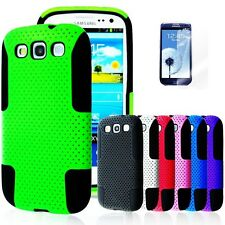 For SAMSUNG GALAXY S III S3 Rubber Hybrid Mesh Combo Hard Case Cover i9300 +Film