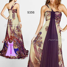 Exquisite One Shoulder Floral Printed Chiffon Empire Long Evening Dress 6-18