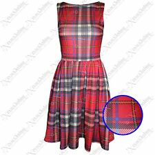 NEW LADIES RED TARTAN CHECK SKATER DRESS WOMENS TAILORED LOOK SKIRT DRESSES TOPS