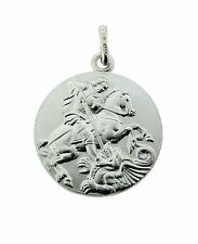 925 STERLING SILVER ROUND DOUBLE SIDED ST GEORGE MEDALLION PENDANT CHARM & CHAIN