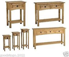 NEW CORONA MEXICAN PINE HALL / CONSOLE TABLE WITH SHELF. 1 DRAWER AND 2 DRAWER