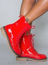 Women Military Combat Style Lace Up Fashion Boots in Red Alyson 01 Sz6-10