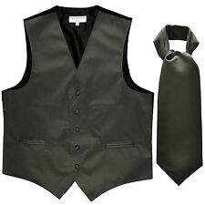 New Men's Solid Tuxedo Vest Waistcoat & Ascot Cravat Aqua Dark Gray Wedding