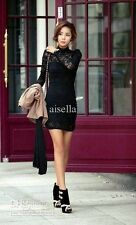 New Women's Long Sleeve Neck Sexy Clubwear Party Cocktail Lace Mini Dress