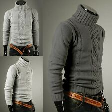 NEW Mens Stylish Slim Fit Turtle neck Knit Winter Warm Casual Sweaters Tops