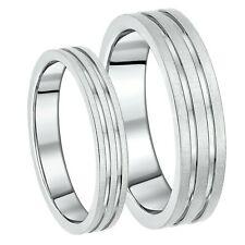 New Titanium 4&6mm  His & Hers Matt & Polished Double Grooved Wedding Ring