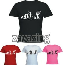 EVOLUTION OF ZOMBIES LADY T-SHIRT ZOMBIE KILLING GAMER HORROR MOVIE PRESENT GIFT