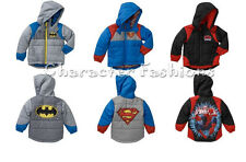 BATMAN SUPERMAN SPIDERMAN 2T 3T 4T 5T Boys JACKET COAT HOODED WINTER