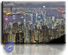Wall Art Canvas Picture Print Hong Kong Skyline  Framed   Ready to Hang
