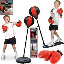 KIDS PUNCH BALL TRAINING BAG ADJUSTABLE HEIGHT GLOVES CHILDRENS BOXING SET GAME