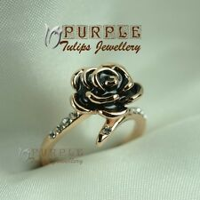 Fashion Black Rose MadeWith SWAROVSKI Elsement Crystal Ring 18K Rose Gold Plated