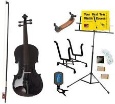 Archetto Metallic Black Violin with Case, Bow & Accessory Pack - 3/4 Size Only