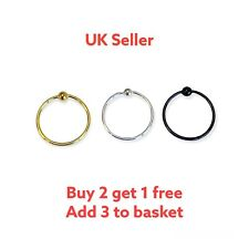 Sterling Silver Plain Ball Nose Ring Hoop Silver,Gold or Black 8mm or 10mm
