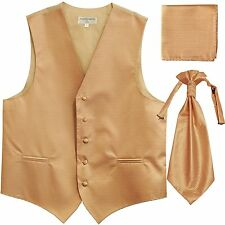 New Men's Horizontal Stripes Tuxedo Vest Waistcoat & Ascot & Hankie Set Beige