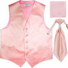 New Men's Horizontal Stripes Tuxedo Vest Waistcoat & Ascot & Hankie Set Pink