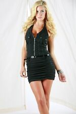 Ruched Zipper Front Halter Black Clubbing Clubwear Party Sexy Belted Mini-Dress