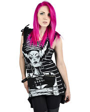 Too Fast Black Bride Of Frankenstein Studded Hooded Long Sarina Tank Tunic Top