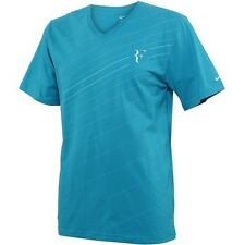 Men Nike RF Federer Cotton T-Shirt Blue Turquoise 524212-422