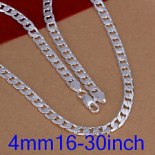 XMAS wholesale solid sliver 4mm flat chain necklace 16-30inch with free gift box