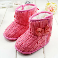 Toddler Fleece Woollen Fur Snow Boot Shoes Infant Knitted Bowknot Crib Wool Shoe