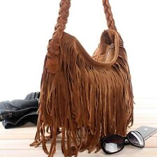 Camel Punk Tassel Fringe Bags Shoulder Messenger Cross Body Handbags Tote Bag