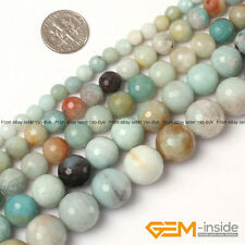 "Natural Colorful Amazonite Gemstone Faceted Round Beads 15"" 6mm 8mm 10mm 12mm"