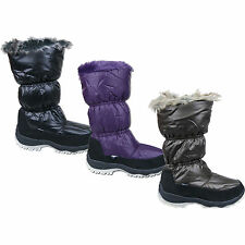 Womens New  Zip Up Fur Lined Thermal Winter Snow Boots Fur Trim Free UK Postage