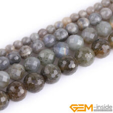 Natural Gemstone Rainbow Labradorite Faceted Round Beads For Jewelry Making 15""