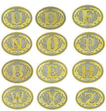 Initial Letters Western Style Cowboy Rodeo Gold Tone Oval Belt Buckles