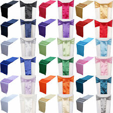 "10/20/50/100PCS 6""x108"" Satin Chair Sashes & 12""x108"" Table Runner Wedding Decor"