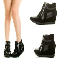 Round Toe Lace Up Velcro Med Wedge Heel Platform Women Fashion Sneaker Bootie US