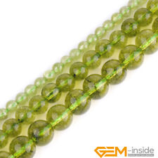 "Green Dyed Peridot Quartz Crystal Round Beads For Jewelry Making 15""4mm 6mm 8mm"